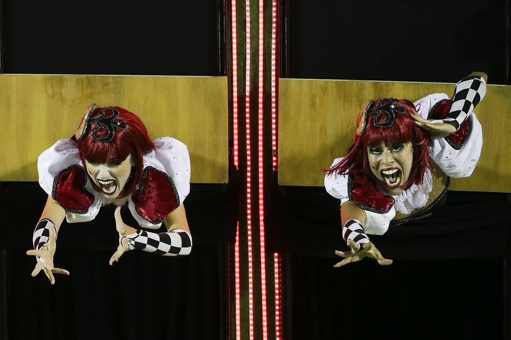 Performers from the Academicos do Grande Rio samba school in Rio de Janeiro