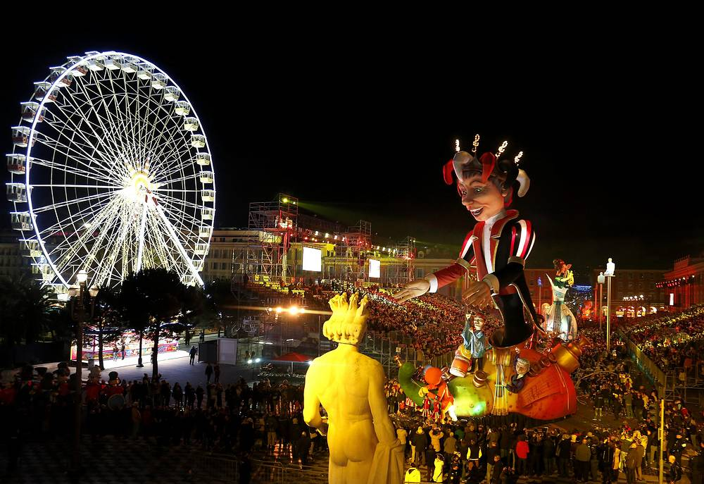 Carnival parade in Nice, France. The theme of the 131st annual Carnival of Nice is 'King of Music'