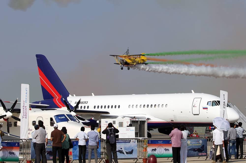 Sukhoi Business Jet on display at the Aero India 2015