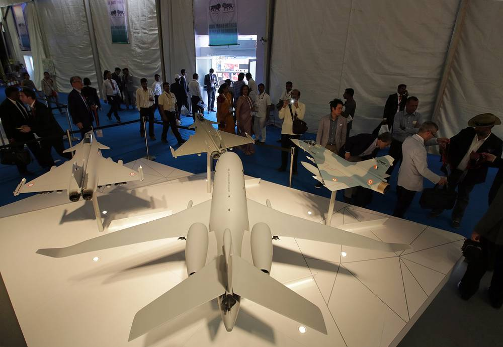 Dassault Falcon plane miniature displayed at the Aero India 2015