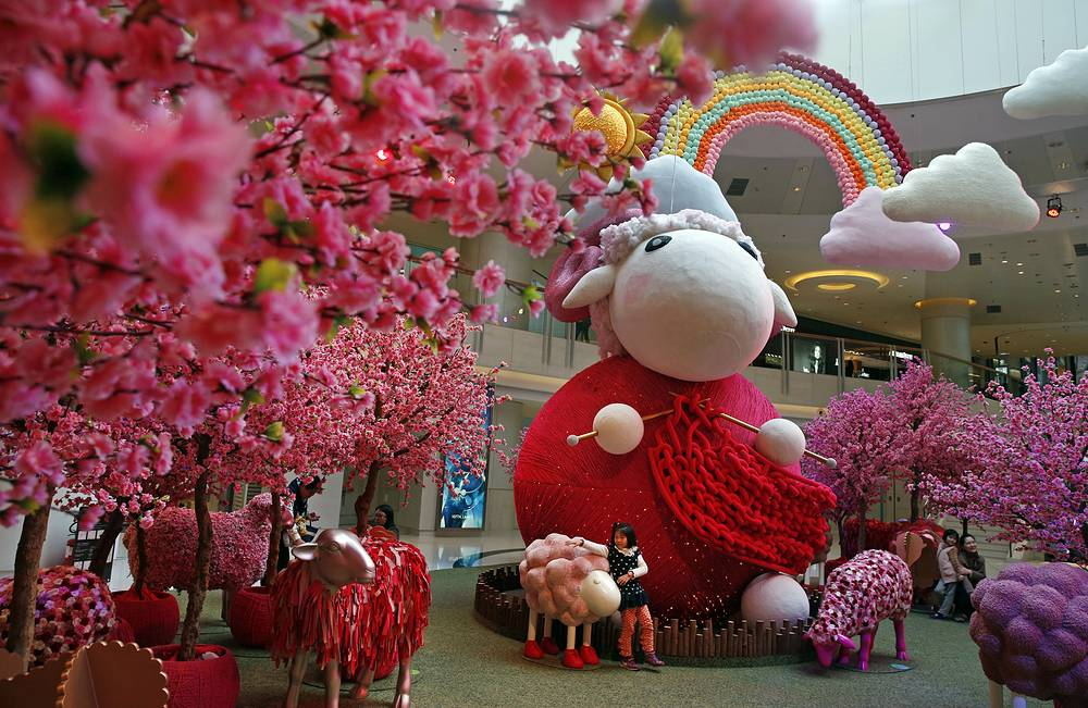 A shopping mall decorated with goat installation to celebrate the Chinese Lunar New Year in Hong Kong