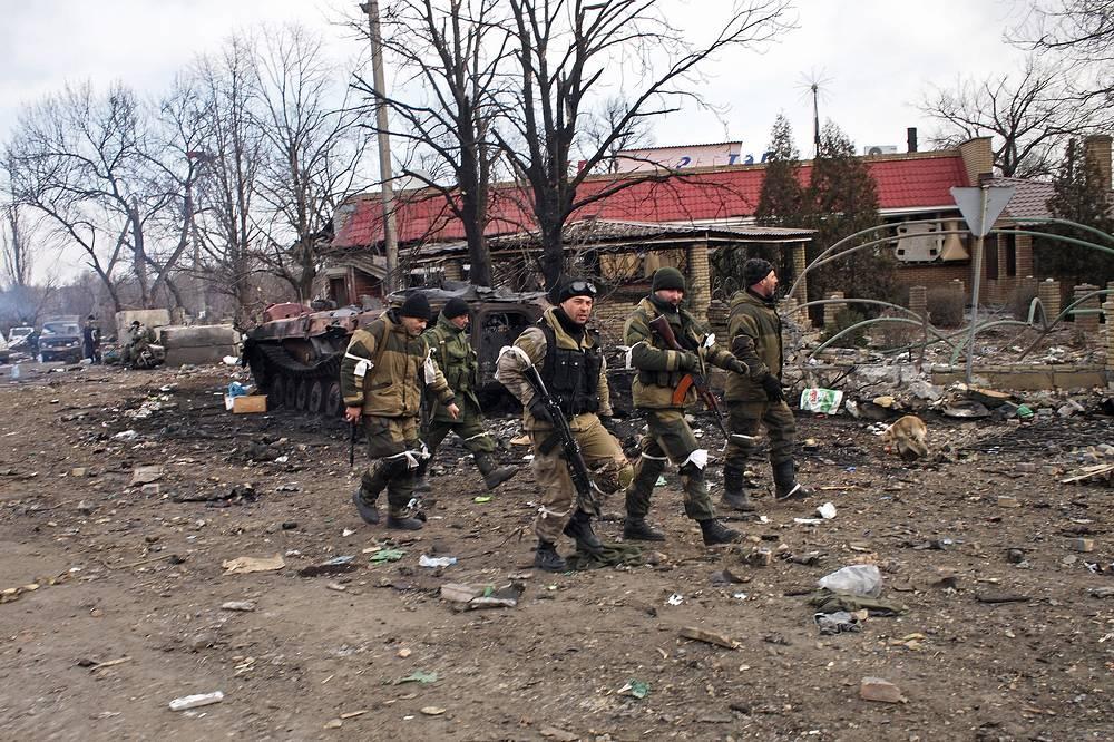 Militia fighters in Debaltsevo, Feb. 19