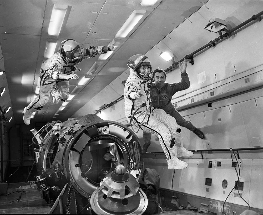 Svetlana Savitskaya (center) became the second woman in space some 19 years after Valentina Tereshkova