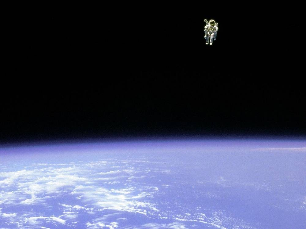 NASA astronaut Bruce McCandless made the first ever untethered free flight using the Manned Maneuvering Unit in 1984