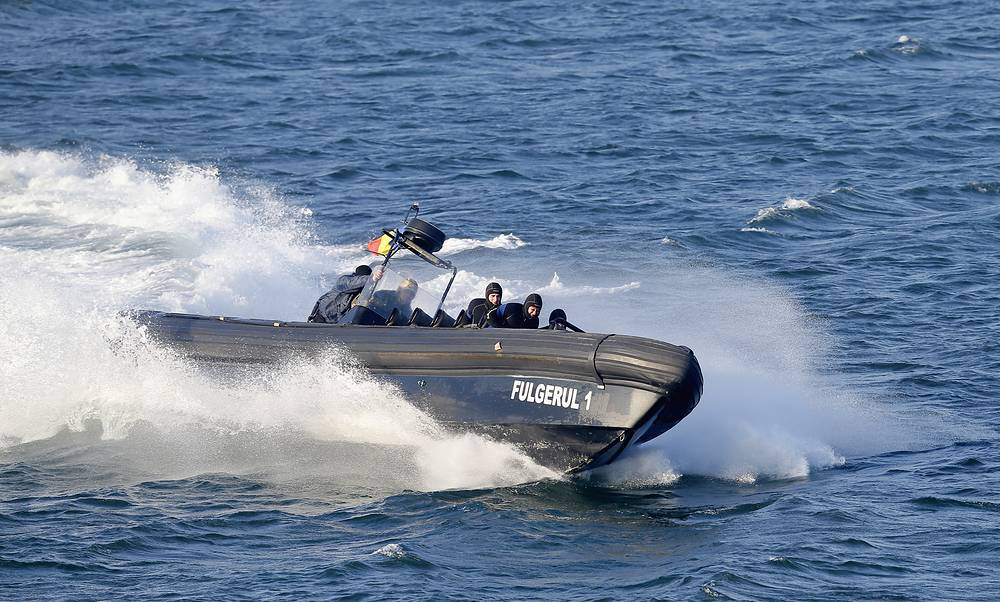 Romanian Navy speed-boat 'Fulgerul 1' during the drills