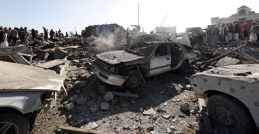 Aftermath of Saudi air strike, in Sanaa, Yemen