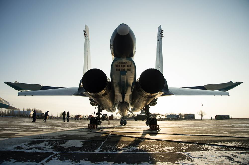 Su-34 fighter jet at the Baltimore air base of the Western Military District in Voronezh