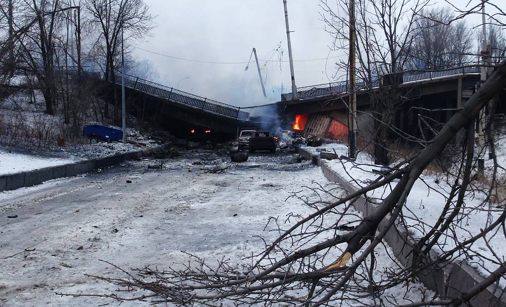 Damaged Putilovsky Bridge near the Donetsk Airport, the site of military fighting between the Ukrainian government's troops and Donetsk militia, January 2015