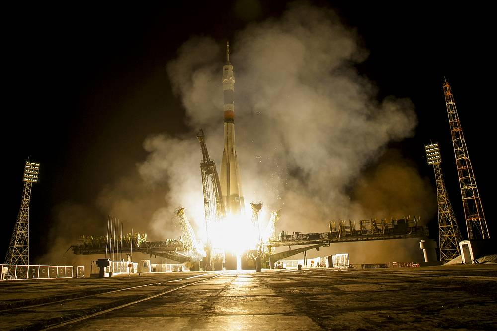 Soyuz rocket launch to the International Space Station from Baikonur cosmodrome, Kazakhstan