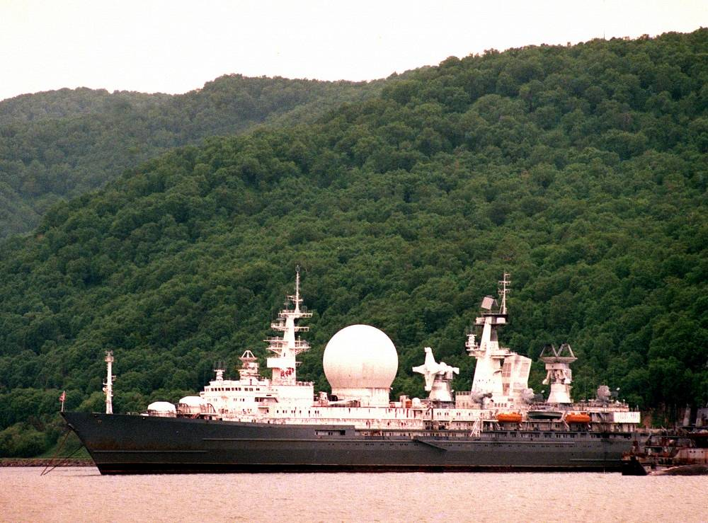 The Marshal Krylov is the only Missile Range Instrumentation or tracking ship in the Russian Navy. Tracking Ships are ships equipped with antennas and electronics to support the launching and tracking of missiles and rockets