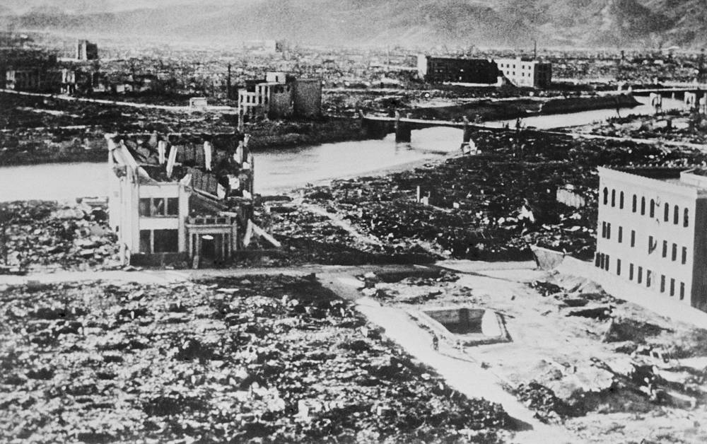 The explosion, equal to 12,000 to 15,000 tons of TNT, destroyed more than two-thirds of Hiroshima's buildings