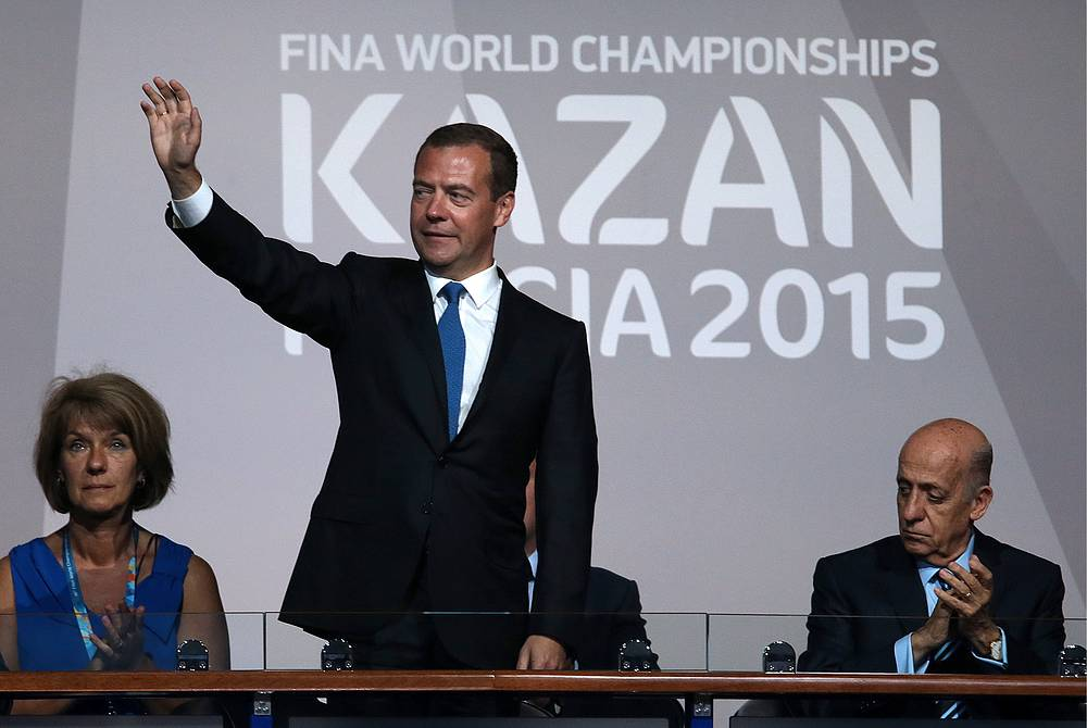 Russian Prime Minister Dmitry Medvedev thanked the athletes, coaches, fans, volunteers and organizers of the championships in Russia's Kazan