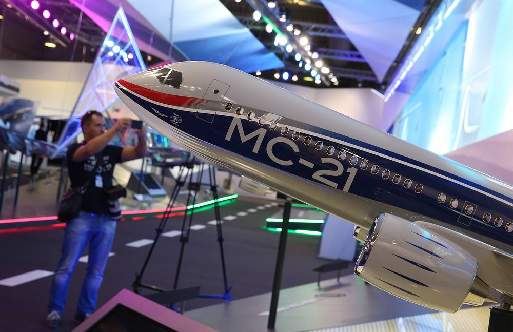 Model of a Russian MC-21 passenger jet