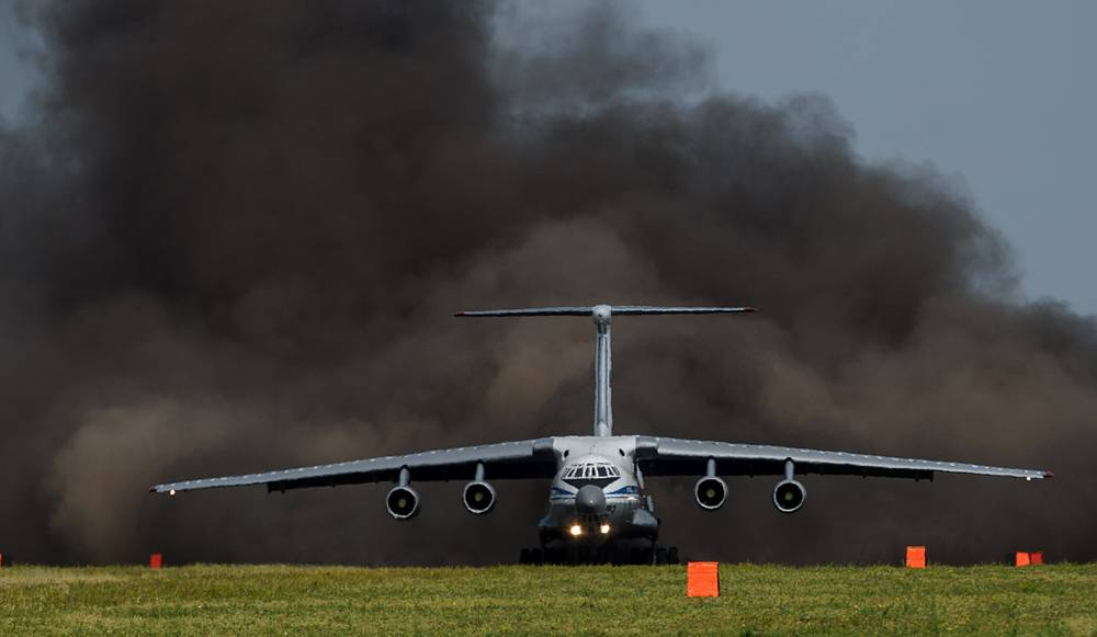 Il-76MD aircraft during takeoff at the field aerodrome in Orenburg region