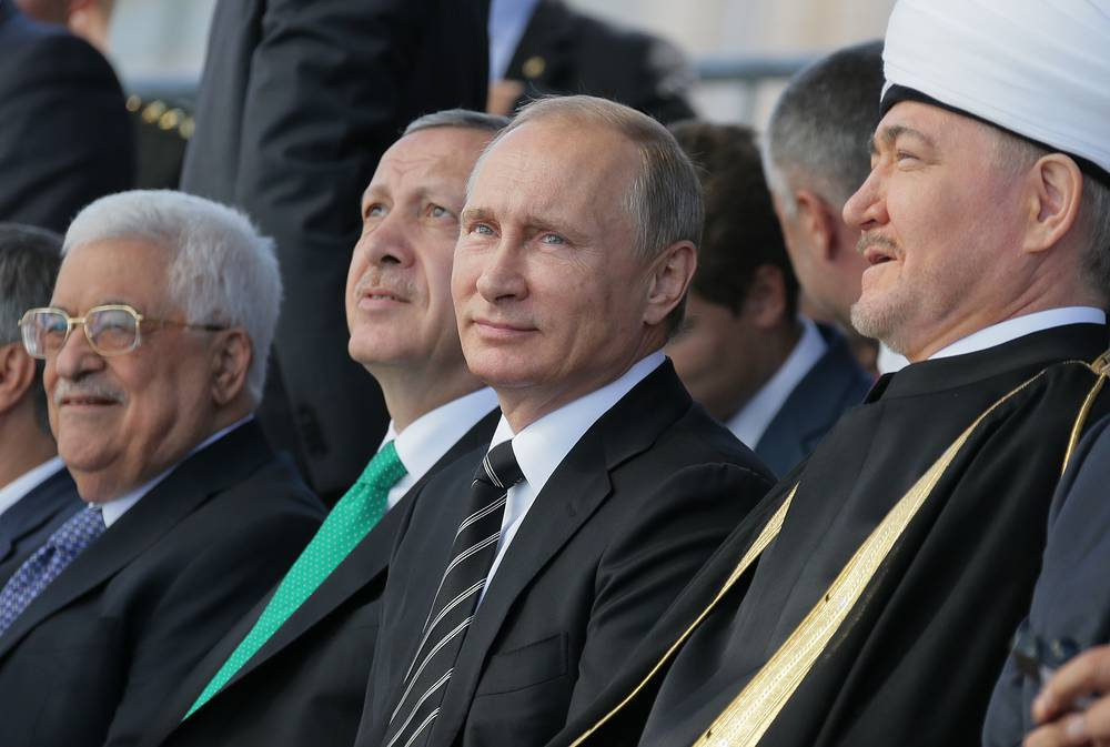 Palestinian leader Mahmoud Abbas, Turkish President Recep Tayyip Erdogan, Russian President Vladimir Putin and Ravil Gainutdin, the chairman of the Council of Russia's Muftis