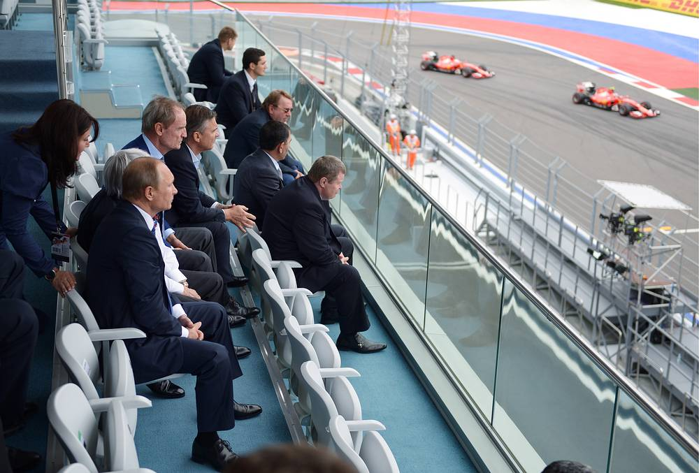 Russia's president Vladimir Putin at the 2015 Formula 1 Russian Grand Prix at Sochi's Olympic Park