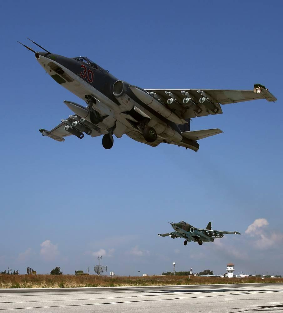 Su-25SM aircraft at the Syrian Hmeymim airbase