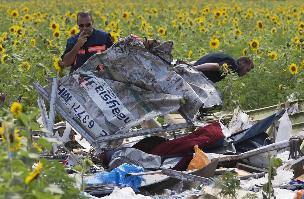 Dutch investigators examining pieces of the crashed Malaysia Airlines Flight 17, Donetsk region, eastern Ukraine