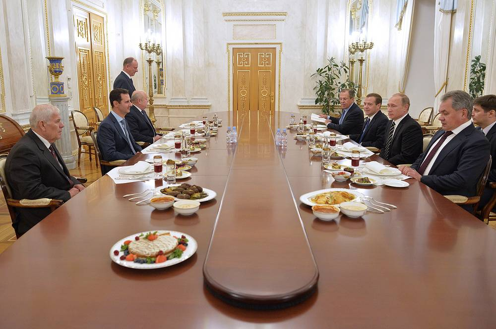 The Kremlin hosted the Russian-Syrian talks in the narrow and extended format with the participation of the representatives of the Russian leadership