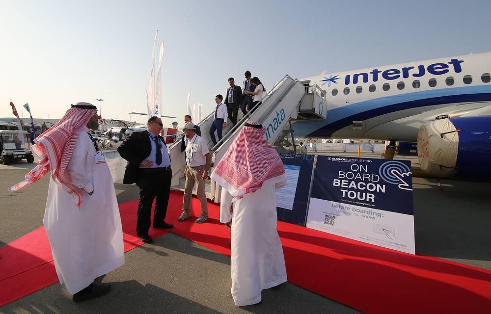 Sukhoi Superjet 100 passenger jet airliner at the 2015 Dubai Airshow