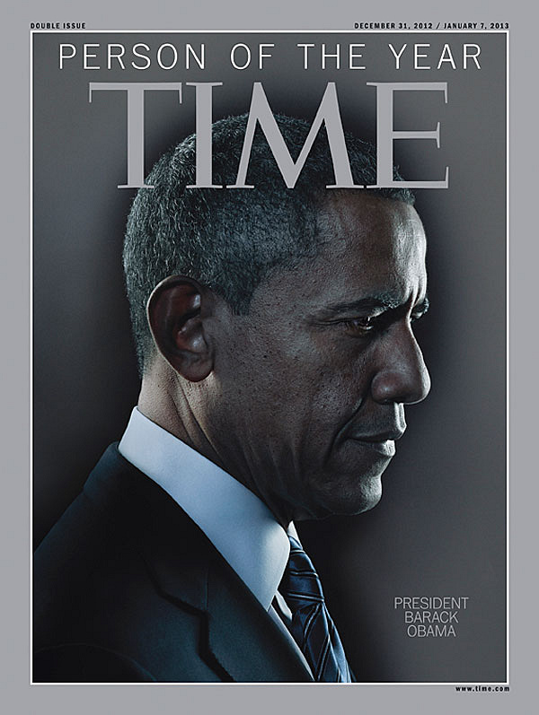 "Barack Obama was named Time magazine's Person of the Year for 2012. The publication called Obama ""the architect of this new America"""