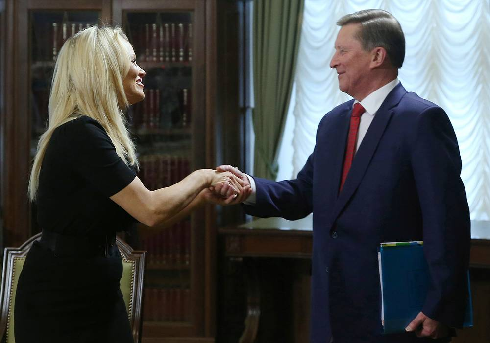 US actress and member of the International Fund for Animal Welfare (IFAW) Pamela Anderson and Kremlin Chief of Staff Sergey Ivanov during a meeting at Moscow's Kremlin