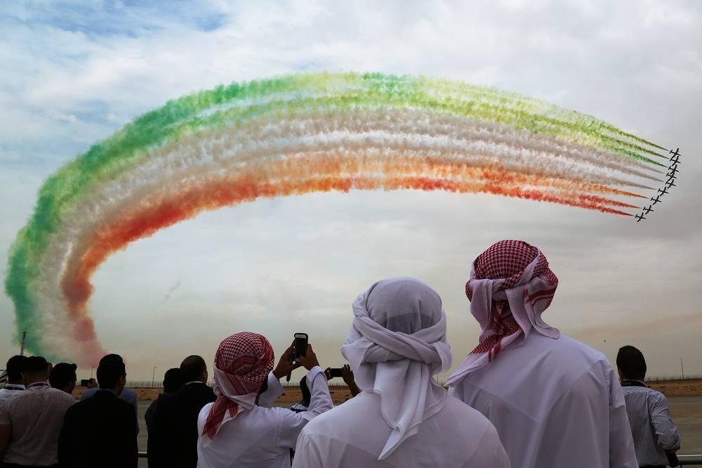 The Frecce Tricolori aerobatic display team of the Italian Aeronautica Militare performing at the 2015 Dubai Airshow, November 12, 2015