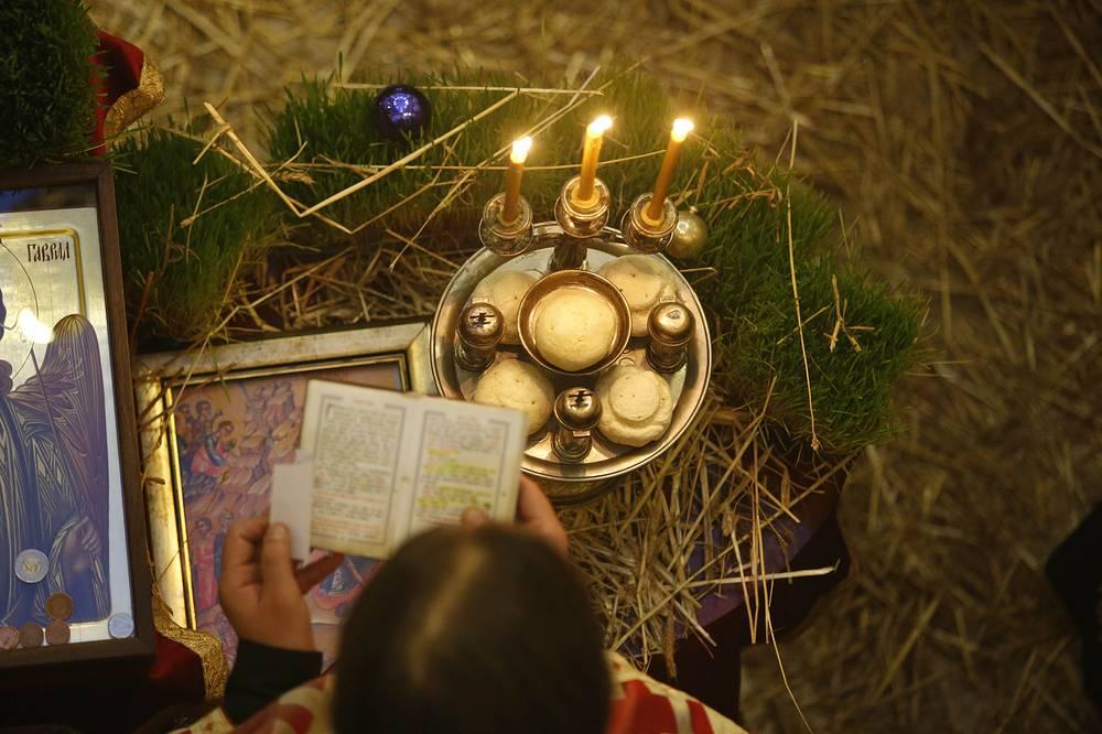 Orthodox Christmas service at the Bosnian Orthodox church in Sarajevo, Bosnia