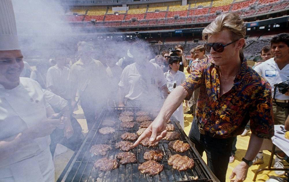 David Bowie seen during a barbecue for his crew at Veterans Stadium in Philadelphia, US, 1987