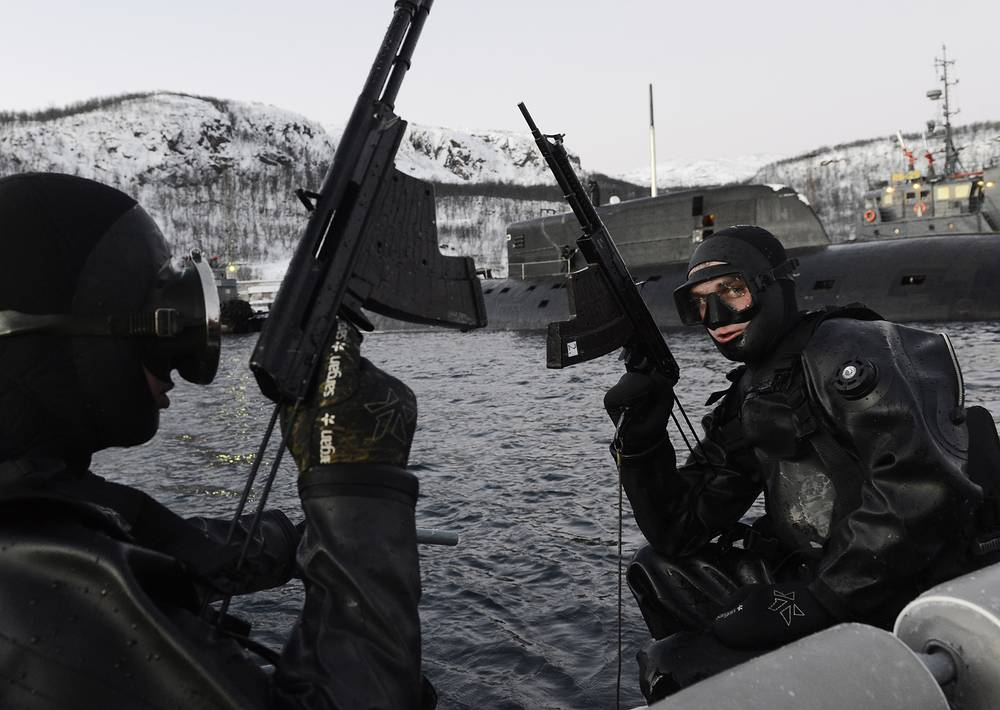 Military divers of the Russian Northern Fleet's squad of anti-sabotage forces