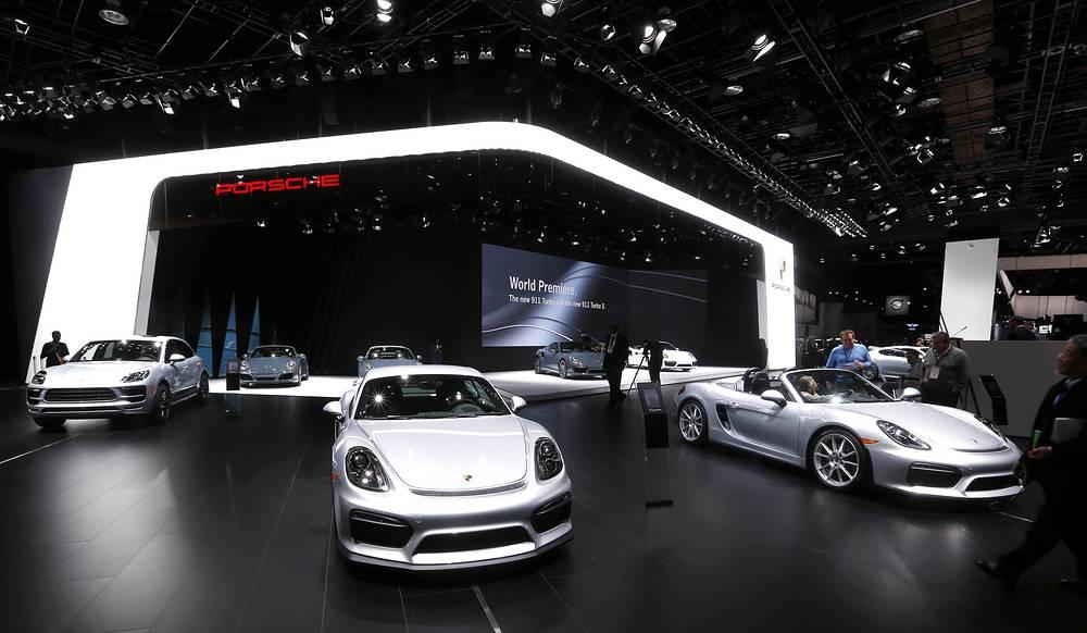 Porsche display at 2016 North American International Auto Show in Detroit