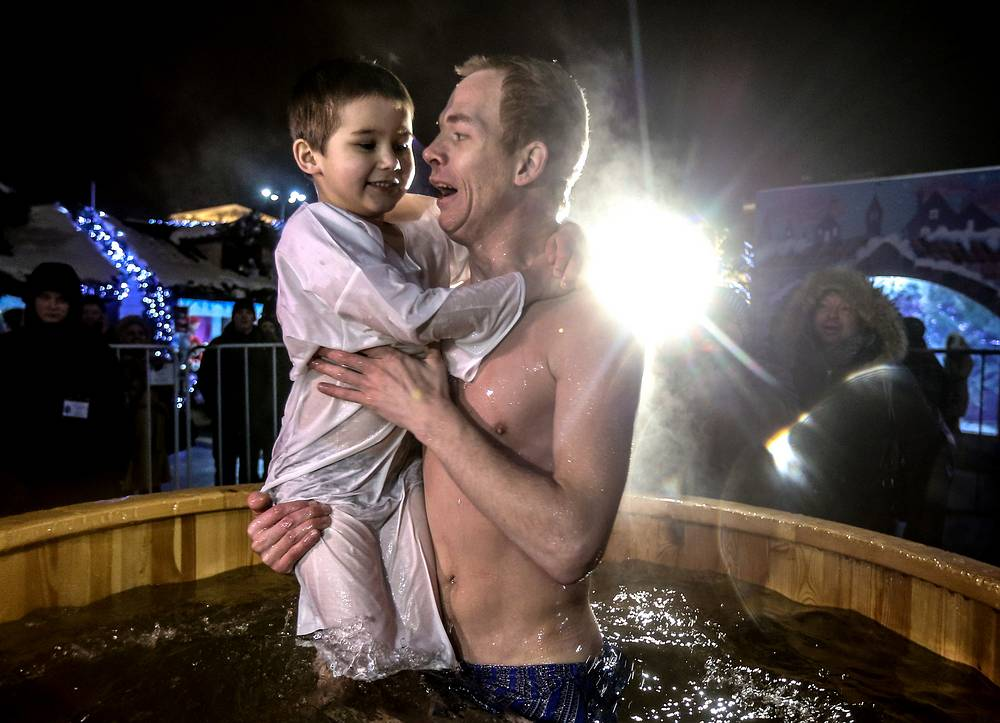 Celebrations of Orthodox Epiphany in Moscow's Revolution Square