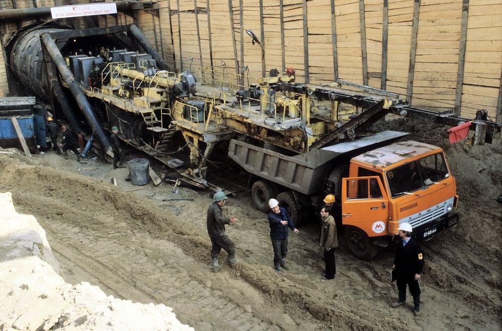 Kamaz truck on the subway construction, 1982
