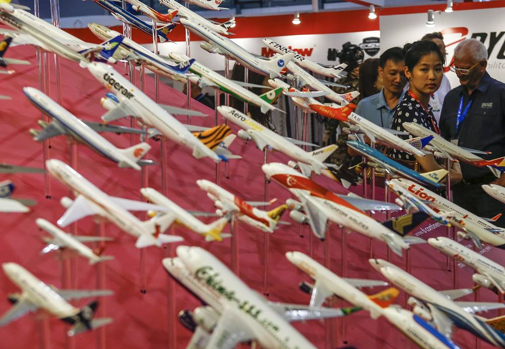 A display of miniature commercial jets at the Changi Airport booth during the Singapore Airshow 2016
