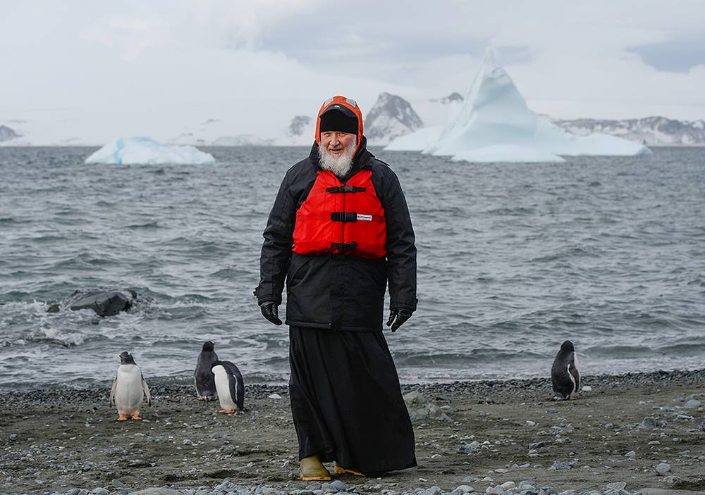 Patriarch Kirill at the penguin rookery on Ardley Island