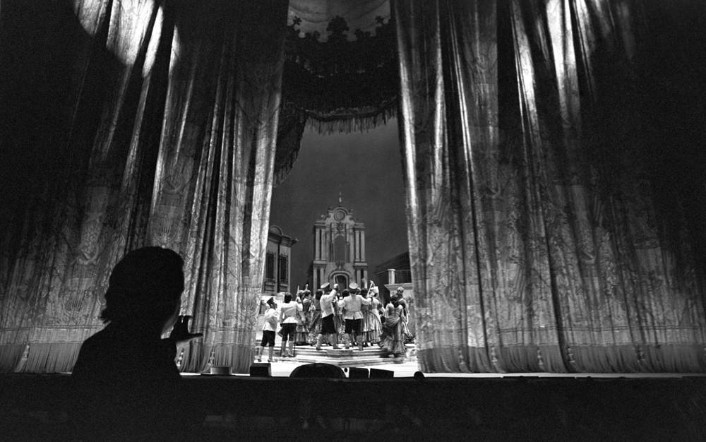 During the first act of Georges Bizet's Carmen opera at the Bolshoi Theater, 1983