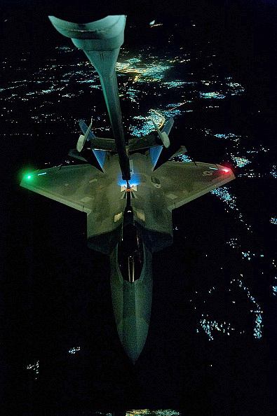 F-22 Raptor during in-flight refueling