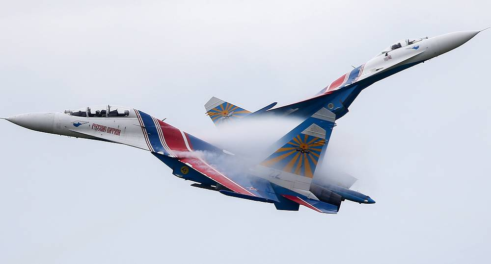 Russkiye Vityazi aerobatic group seen at the opening ceremony of the 2015 International Army Games