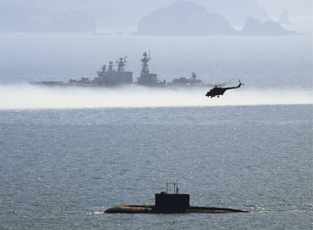 Russian Navy ships taking part in a military drill