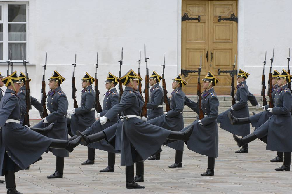 The Presidential Kremlin Regiment at guard mounting outside the Assumption Cathedral, in Cathedral Square, Kremlin