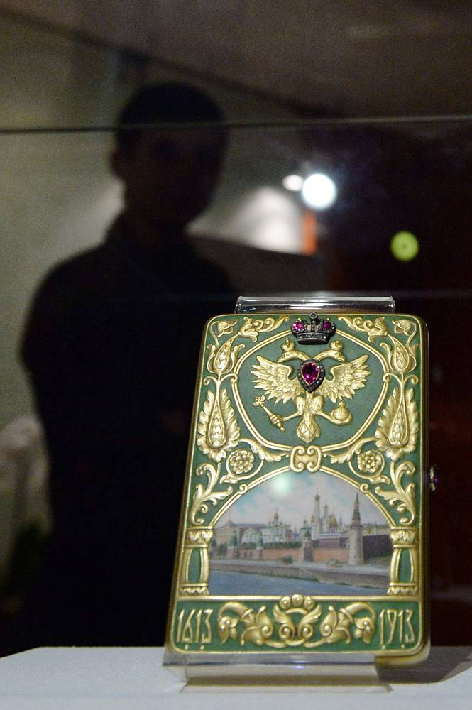 A cigarette case in memory of the 300th anniversary of the Romanov House (1913) by Russian jeweller Peter Carl Faberge
