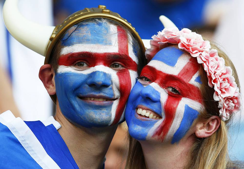 Iceland fans at match between England and Iceland, 27 June 2016