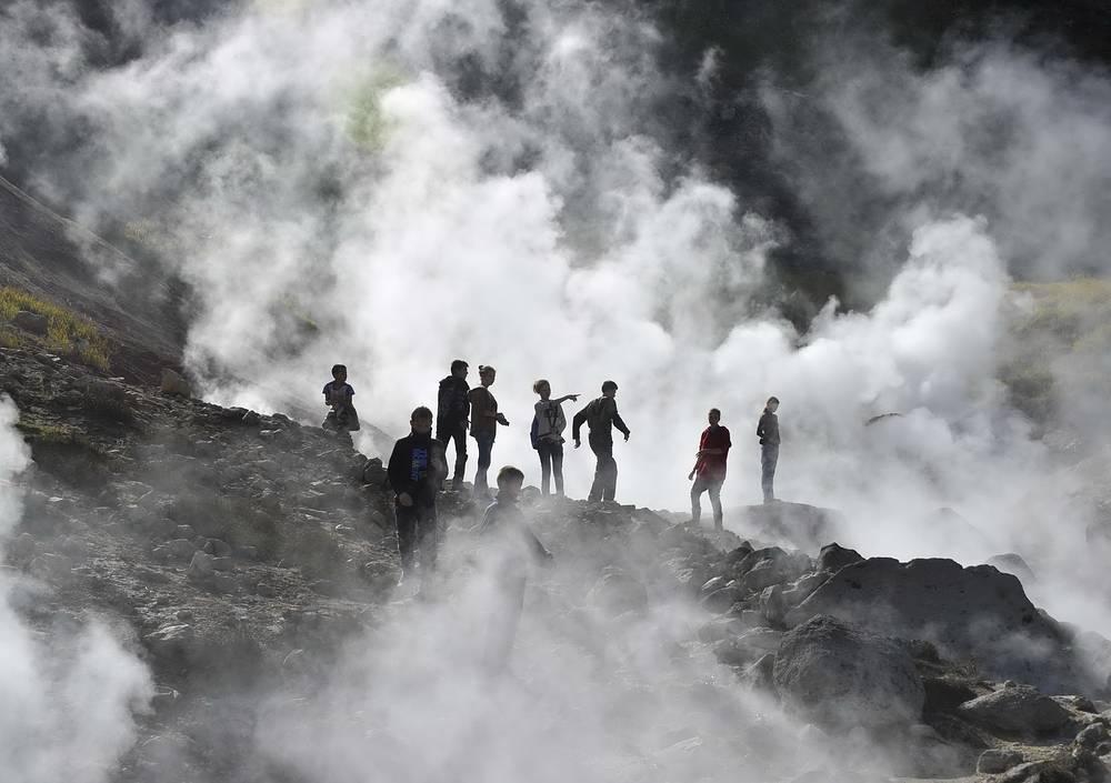 Thermal springs at the foot of Mutnovsky volcano