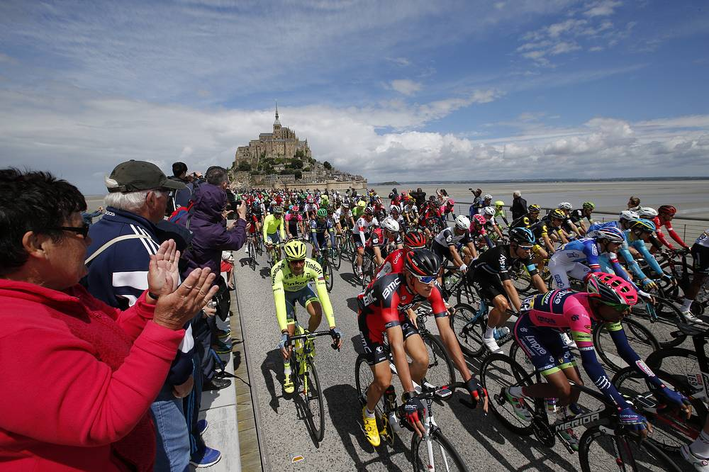 The start of the Tour de France cycling race in Mont-Saint-Michel, France, July 2, 2016