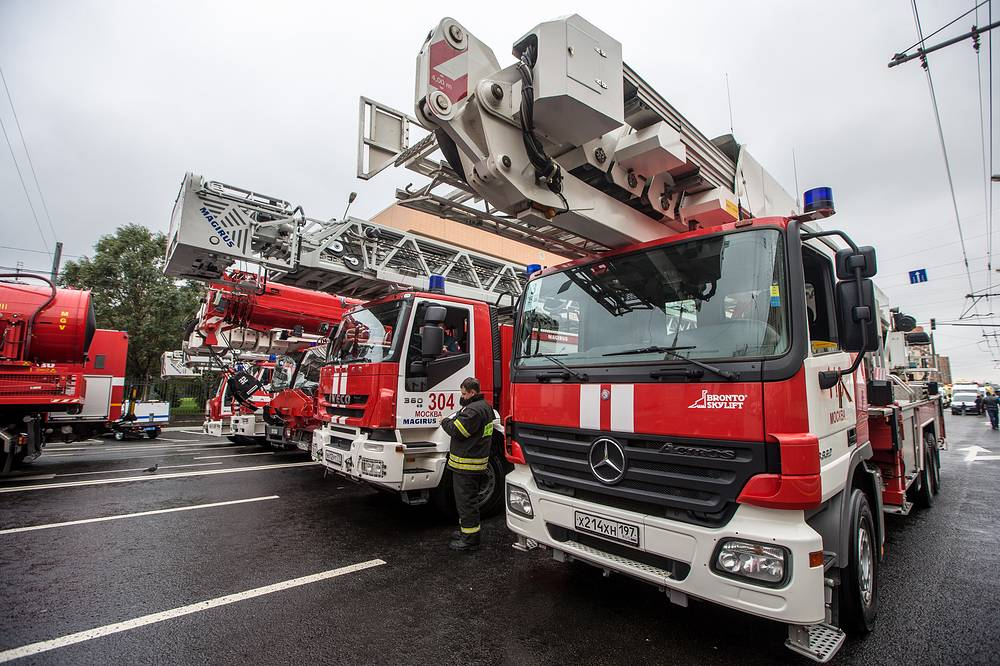 Fire trucks at the parade of municipal machinery in Moscow's Garden Ring Street