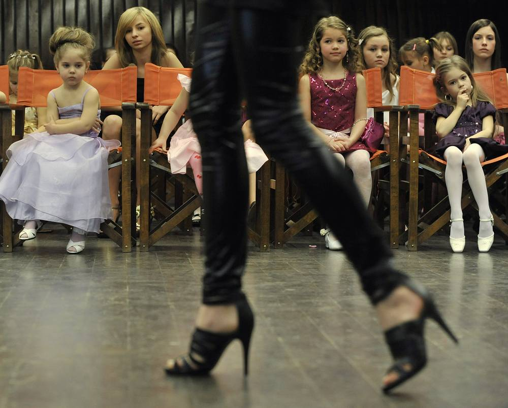 Child beauty pageants are beauty contests featuring contestants under 16 years of age. Photo: Participants of 'Little Miss Hungary' beauty contest in Budapest, 2010