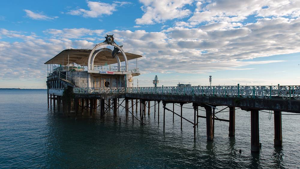 The abandoned restaurant on stilts in Sukhumi