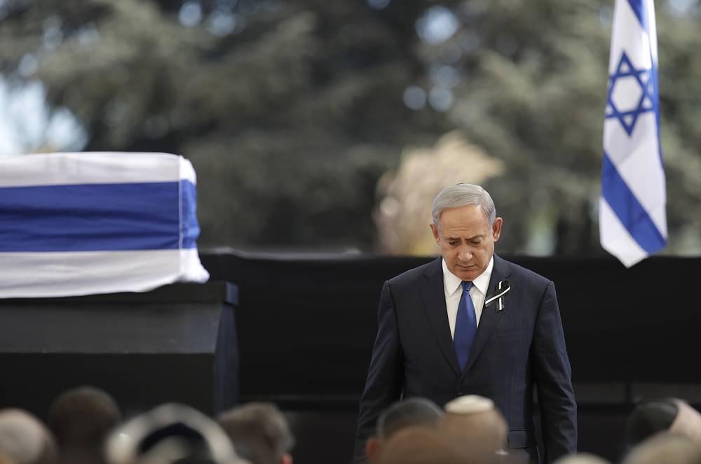 Israeli Prime Minister Benjamin Netanyahu at the funeral of former Israeli President Shimon Peres in Jerusalem, Sept. 30