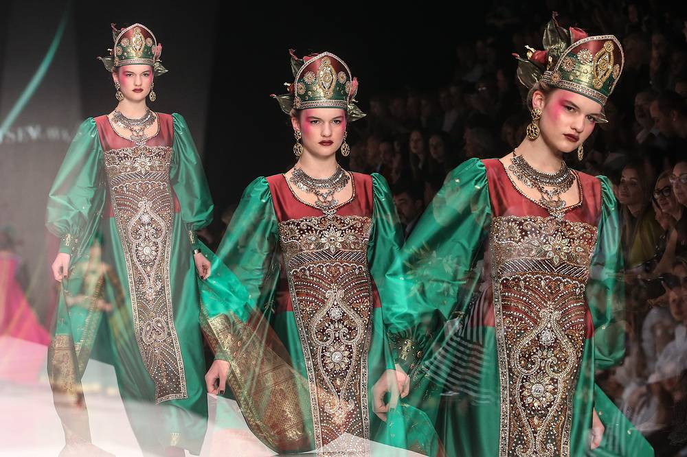 Models at Mercedes-Benz Fashion Week Russia in Moscow, October 13