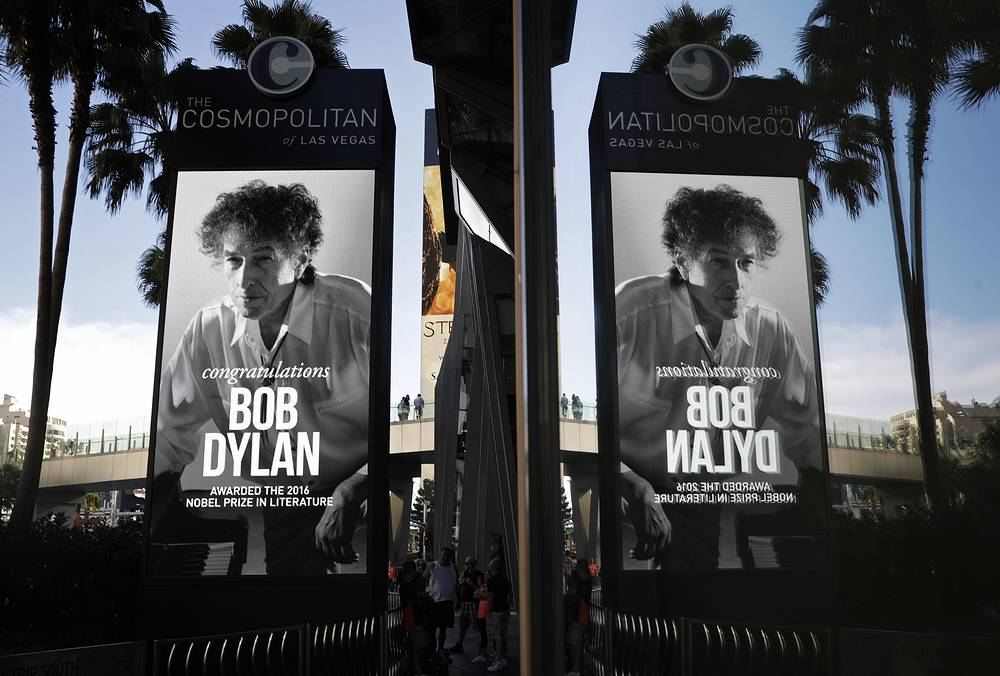 A sign outside of the Cosmopolitan of Las Vegas congratulates Bob Dylan, as he was awarded with 2016 Nobel Prize in literature, October 13
